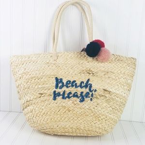 """""""Beach Please"""" Insulated Straw Tote With Zip Top"""